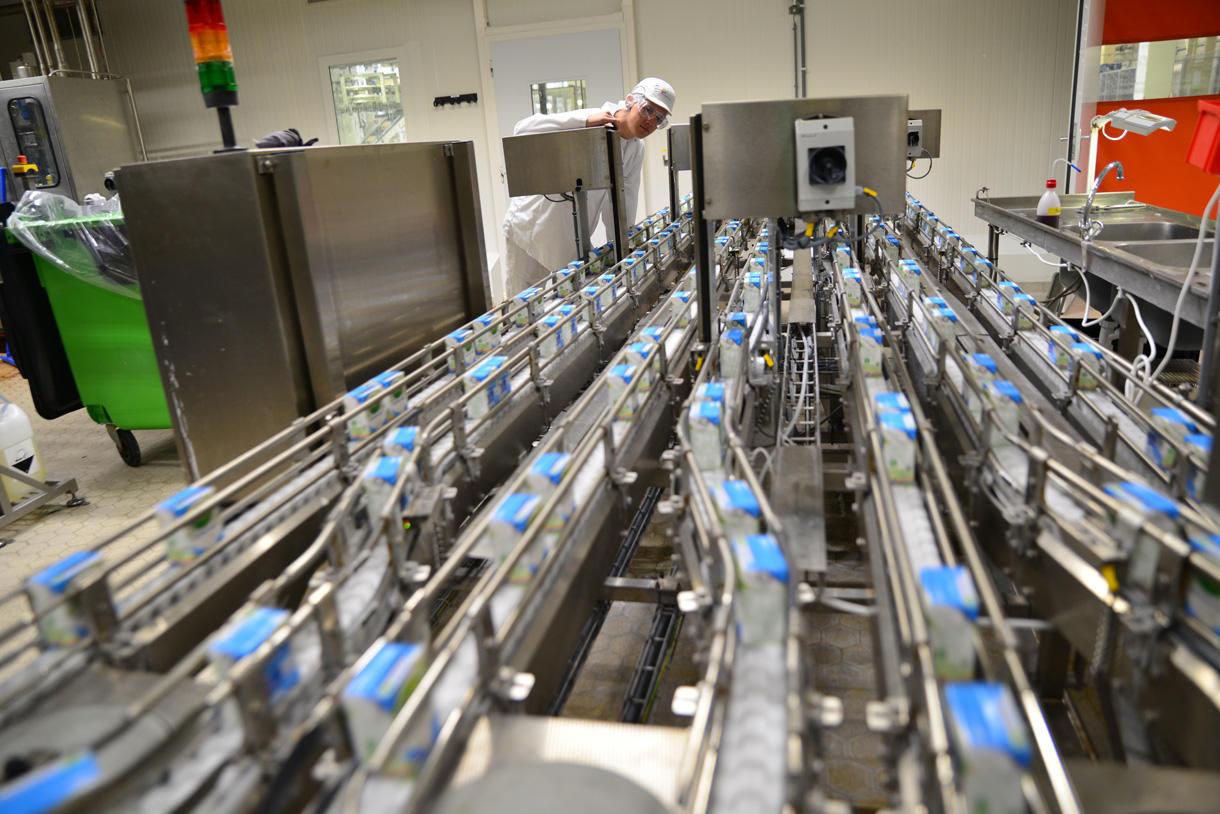 Friesland Campina melkpakken lopende band